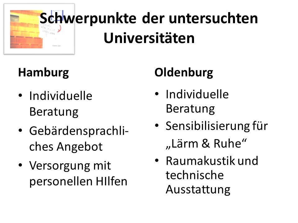Schwerpunkte der untersuchten Universitäten Hamburg Individuelle Beratung Gebärdensprachli- ches Angebot Versorgung mit personellen HIlfen Oldenburg I