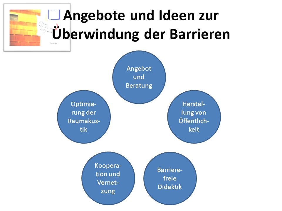 Angebote und Ideen zur Überwindung der Barrieren Angebot und Beratung Herstel- lung von Öffentlich- keit Barriere- freie Didaktik Koopera- tion und Ve