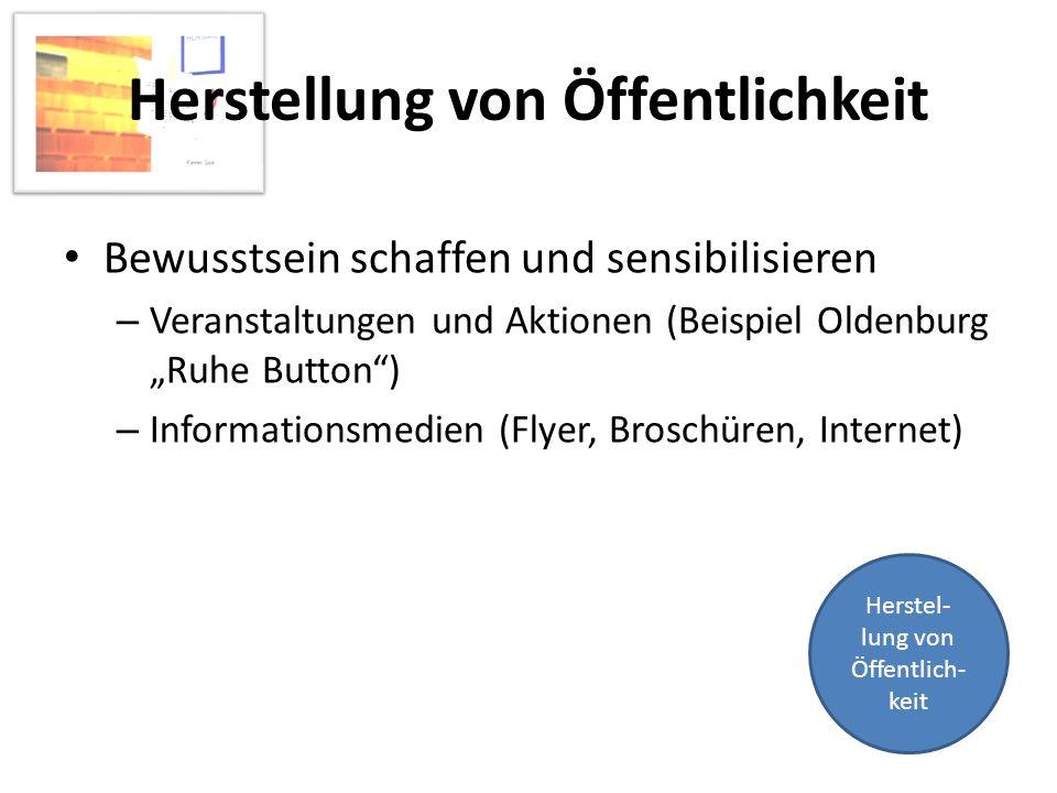 Herstellung von Öffentlichkeit Bewusstsein schaffen und sensibilisieren – Veranstaltungen und Aktionen (Beispiel Oldenburg Ruhe Button) – Informations