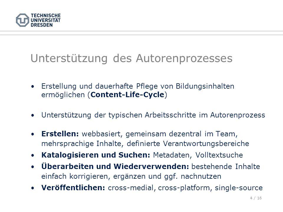 4 / 16 Unterstützung des Autorenprozesses Erstellung und dauerhafte Pflege von Bildungsinhalten ermöglichen (Content-Life-Cycle) Unterstützung der typ