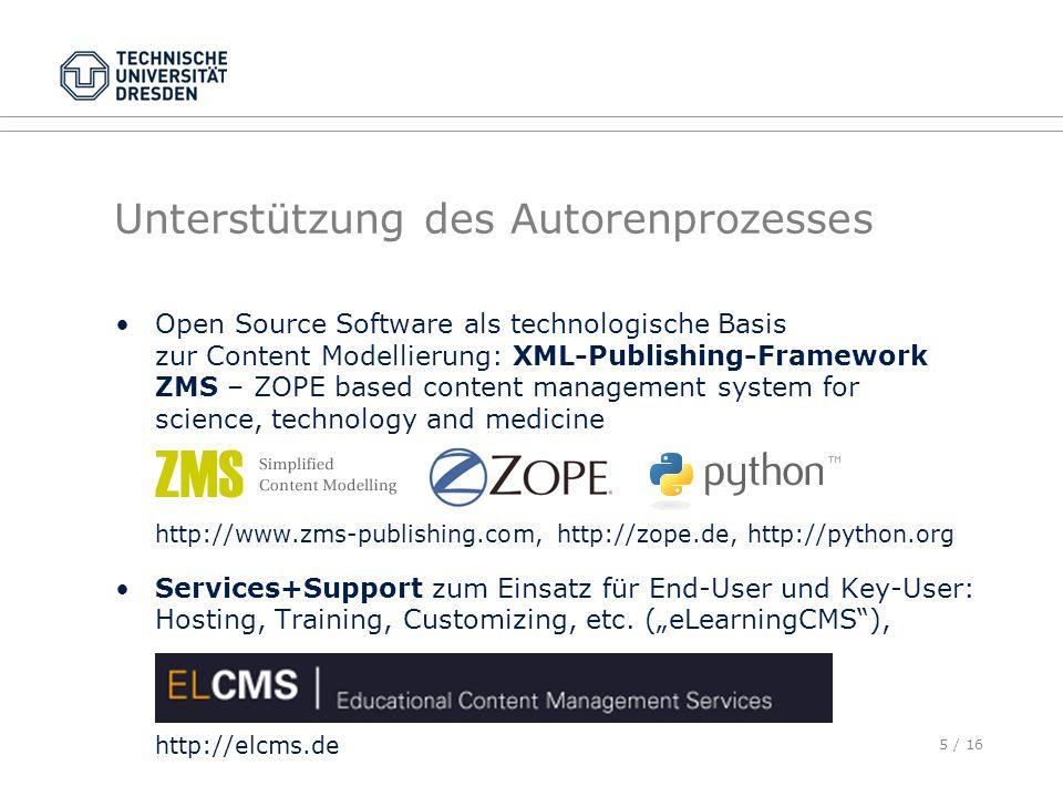 5 / 16 Unterstützung des Autorenprozesses Open Source Software als technologische Basis zur Content Modellierung: XML-Publishing-Framework ZMS – ZOPE