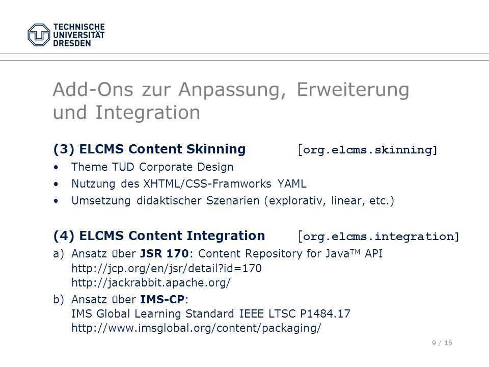 9 / 16 Add-Ons zur Anpassung, Erweiterung und Integration (3) ELCMS Content Skinning[ org.elcms.skinning] Theme TUD Corporate Design Nutzung des XHTML