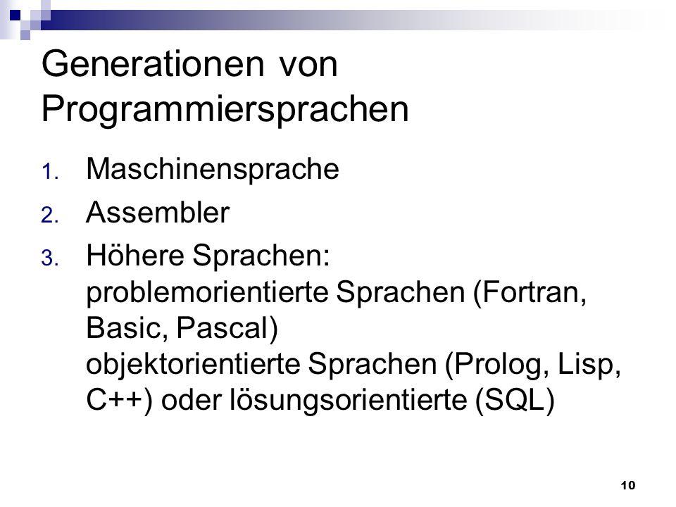 10 Generationen von Programmiersprachen 1. Maschinensprache 2. Assembler 3. Höhere Sprachen: problemorientierte Sprachen (Fortran, Basic, Pascal) obje