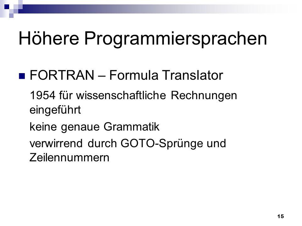 15 Höhere Programmiersprachen FORTRAN – Formula Translator 1954 für wissenschaftliche Rechnungen eingeführt keine genaue Grammatik verwirrend durch GO