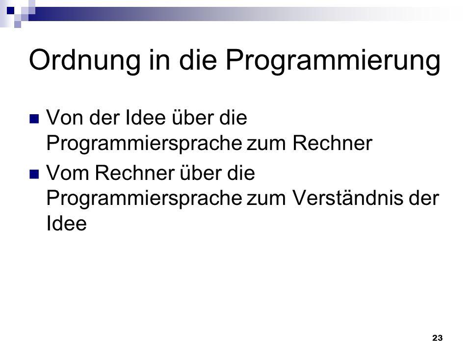 23 Ordnung in die Programmierung Von der Idee über die Programmiersprache zum Rechner Vom Rechner über die Programmiersprache zum Verständnis der Idee