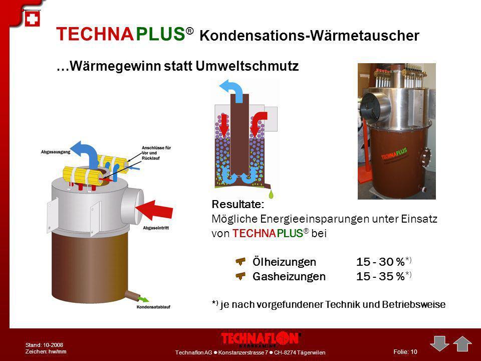 Folie: 10 Technaflon AG Konstanzerstrasse 7 CH-8274 Tägerwilen Stand: 10-2008 Zeichen: hw/mm …Wärmegewinn statt Umweltschmutz TECHNA PLUS ® Kondensati