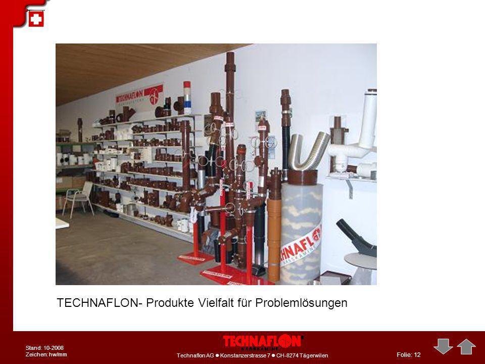 Folie: 12 Technaflon AG Konstanzerstrasse 7 CH-8274 Tägerwilen Stand: 10-2008 Zeichen: hw/mm TECHNAFLON- Produkte Vielfalt für Problemlösungen