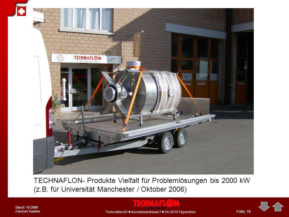 Folie: 16 Technaflon AG Konstanzerstrasse 7 CH-8274 Tägerwilen Stand: 10-2008 Zeichen: hw/mm TECHNAFLON- Produkte Vielfalt für Problemlösungen bis 200