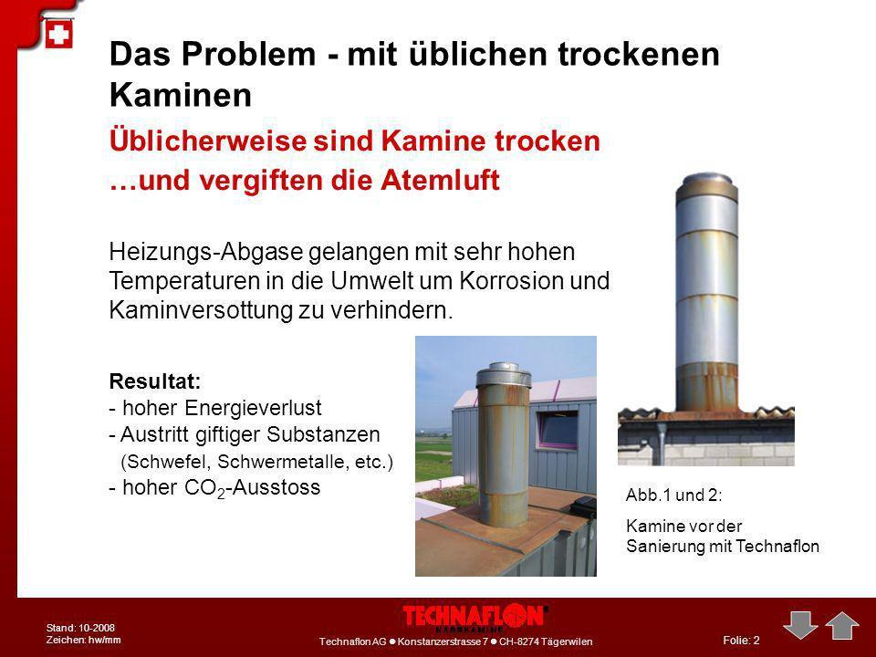 Folie: 2 Technaflon AG Konstanzerstrasse 7 CH-8274 Tägerwilen Stand: 10-2008 Zeichen: hw/mm Das Problem - mit üblichen trockenen Kaminen Heizungs-Abga