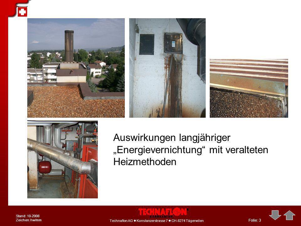 Folie: 3 Technaflon AG Konstanzerstrasse 7 CH-8274 Tägerwilen Stand: 10-2008 Zeichen: hw/mm Auswirkungen langjähriger Energievernichtung mit veraltete