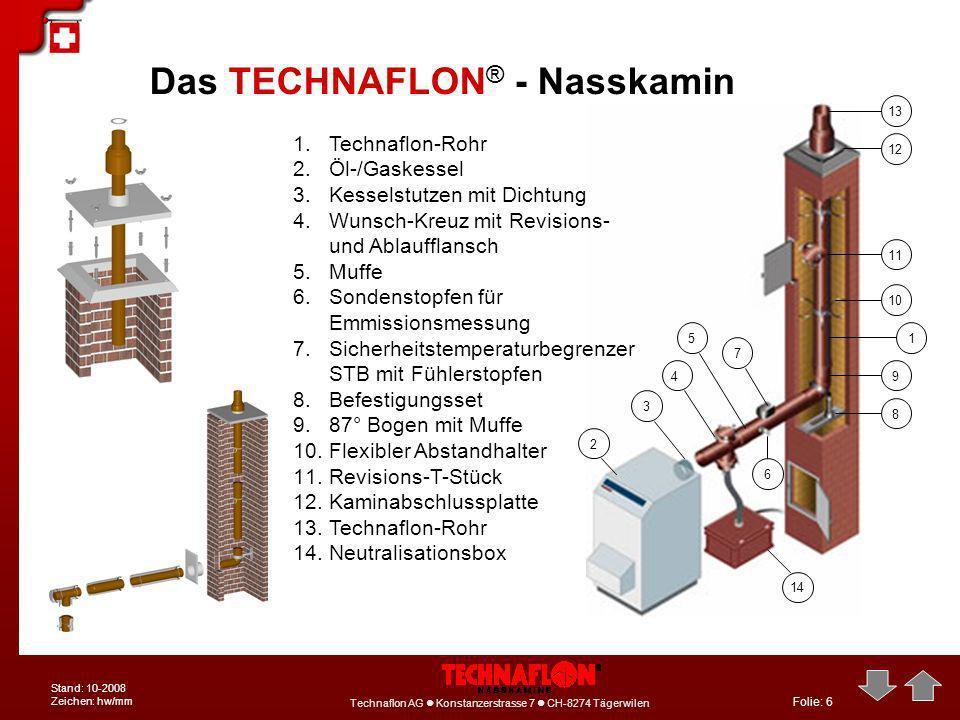 Folie: 6 Technaflon AG Konstanzerstrasse 7 CH-8274 Tägerwilen Stand: 10-2008 Zeichen: hw/mm Das TECHNAFLON ® - Nasskamin 1.Technaflon-Rohr 2.Öl-/Gaske
