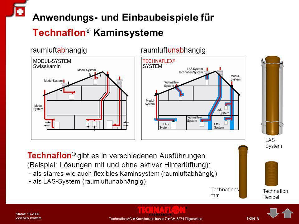 Folie: 8 Technaflon AG Konstanzerstrasse 7 CH-8274 Tägerwilen Stand: 10-2008 Zeichen: hw/mm Anwendungs- und Einbaubeispiele für Technaflon ® Kaminsyst