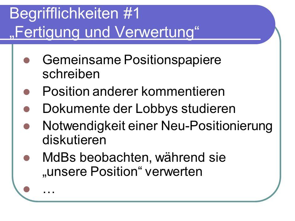 Begrifflichkeiten #1 Fertigung und Verwertung Gemeinsame Positionspapiere schreiben Position anderer kommentieren Dokumente der Lobbys studieren Notwe
