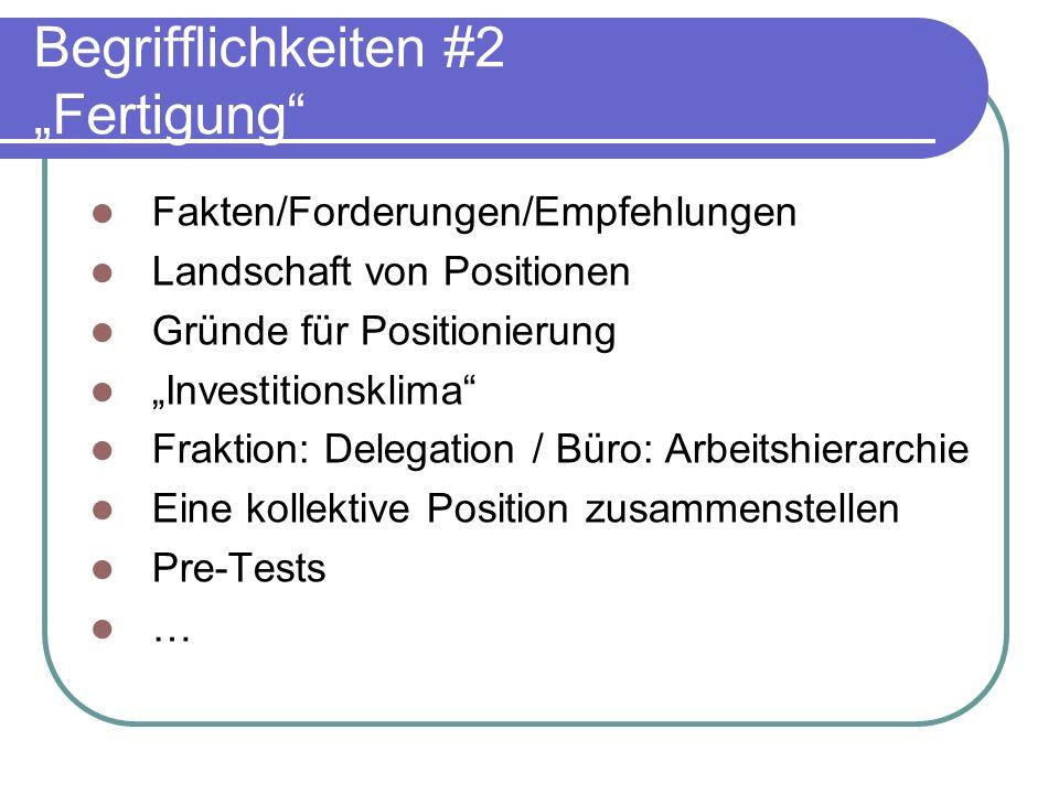 Begrifflichkeiten #2 Fertigung Fakten/Forderungen/Empfehlungen Landschaft von Positionen Gründe für Positionierung Investitionsklima Fraktion: Delegat
