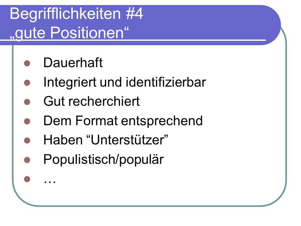 Begrifflichkeiten #4 gute Positionen Dauerhaft Integriert und identifizierbar Gut recherchiert Dem Format entsprechend Haben Unterstützer Populistisch
