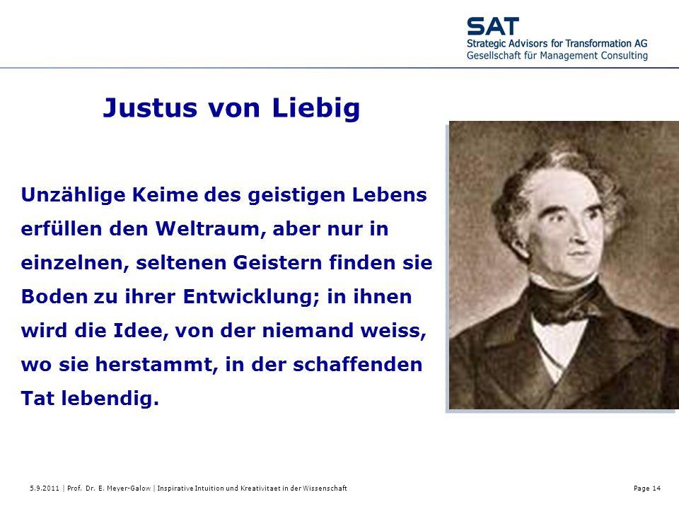 5.9.2011 | Prof. Dr. E. Meyer-Galow | Inspirative Intuition und Kreativitaet in der WissenschaftPage 14 Justus von Liebig Unzählige Keime des geistige