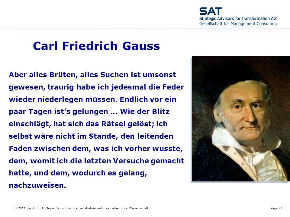 5.9.2011 | Prof. Dr. E. Meyer-Galow | Inspirative Intuition und Kreativitaet in der WissenschaftPage 21 Carl Friedrich Gauss Aber alles Brüten, alles