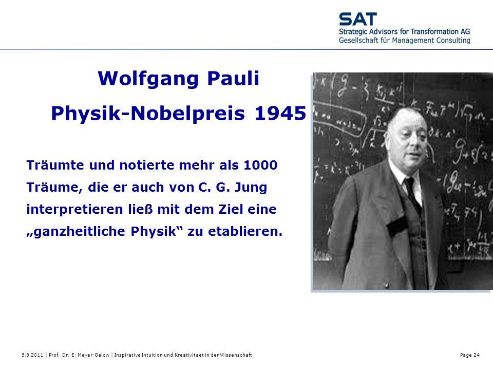 5.9.2011 | Prof. Dr. E. Meyer-Galow | Inspirative Intuition und Kreativitaet in der WissenschaftPage 24 Wolfgang Pauli Physik-Nobelpreis 1945 Träumte