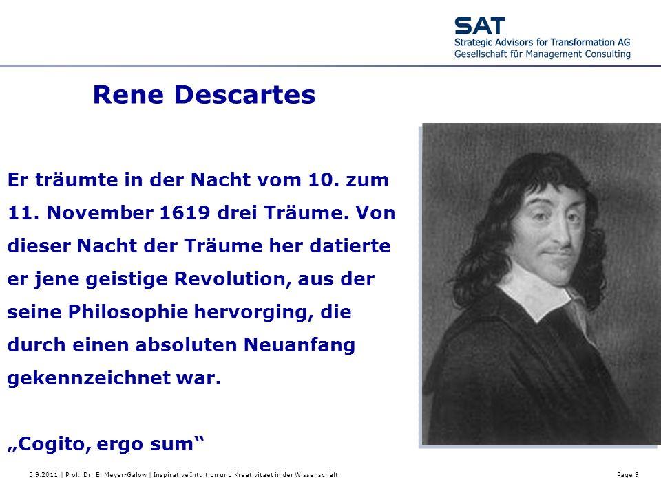 5.9.2011 | Prof. Dr. E. Meyer-Galow | Inspirative Intuition und Kreativitaet in der WissenschaftPage 9 Rene Descartes Er träumte in der Nacht vom 10.