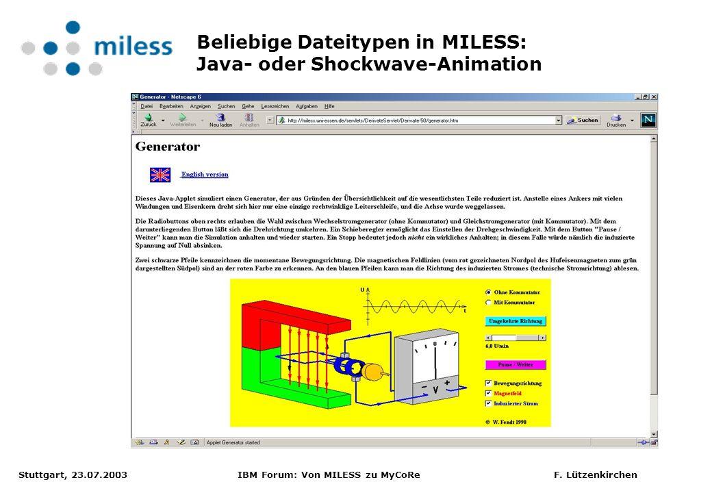 Stuttgart, 23.07.2003 IBM Forum: Von MILESS zu MyCoRe F. Lützenkirchen Beliebige Dateitypen in MILESS: Java- oder Shockwave-Animation