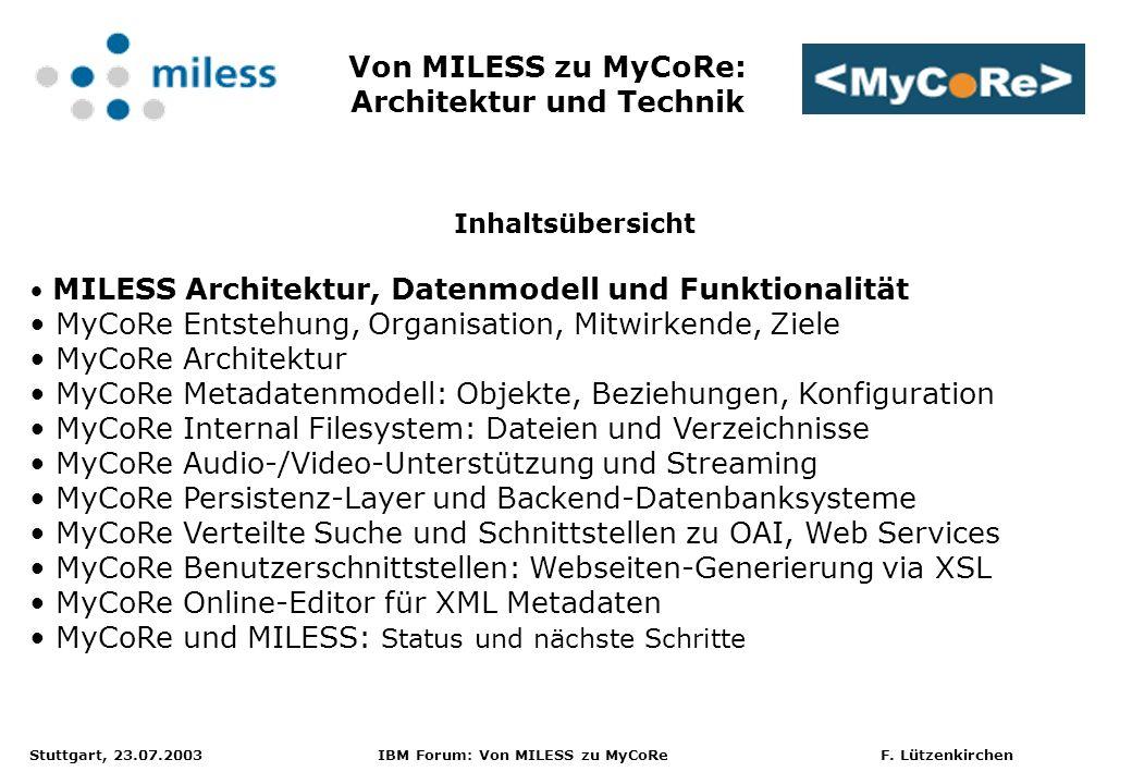 Stuttgart, 23.07.2003 IBM Forum: Von MILESS zu MyCoRe F.