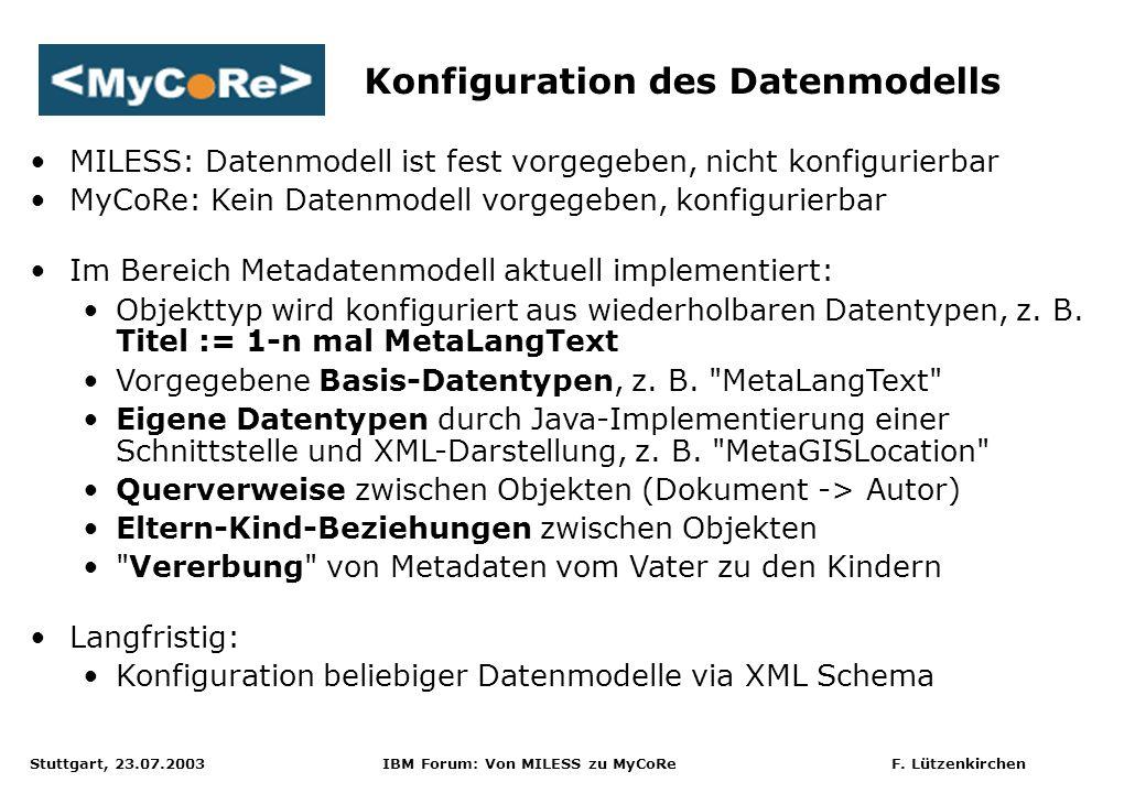 Stuttgart, 23.07.2003 IBM Forum: Von MILESS zu MyCoRe F. Lützenkirchen Konfiguration des Datenmodells MILESS: Datenmodell ist fest vorgegeben, nicht k