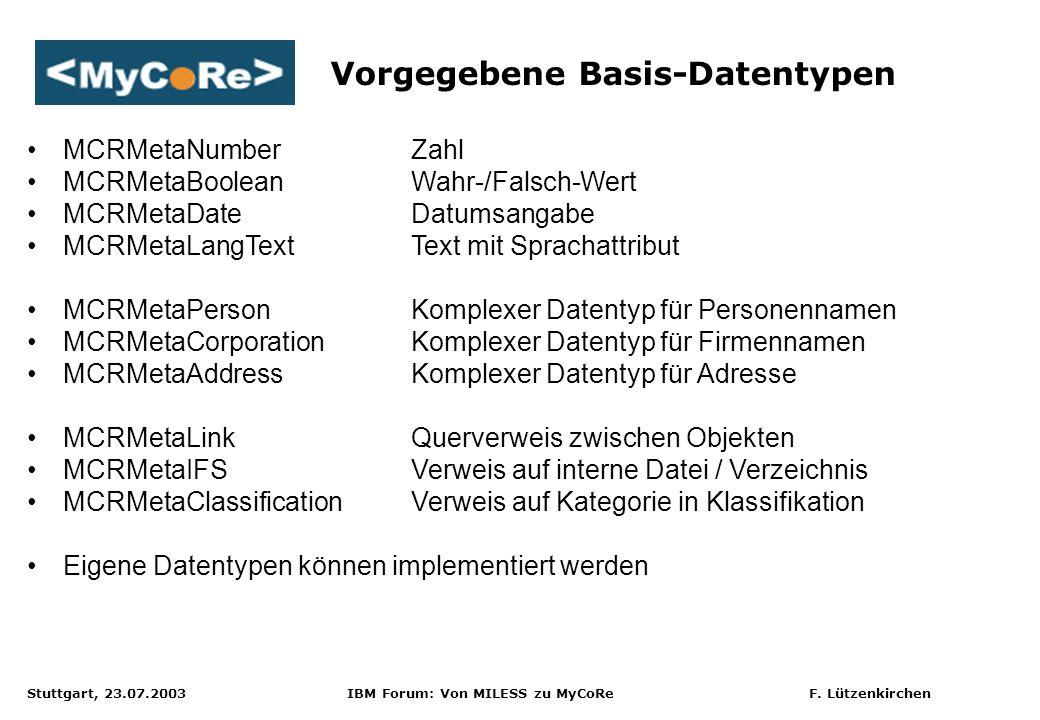 Stuttgart, 23.07.2003 IBM Forum: Von MILESS zu MyCoRe F. Lützenkirchen Vorgegebene Basis-Datentypen MCRMetaNumberZahl MCRMetaBooleanWahr-/Falsch-Wert