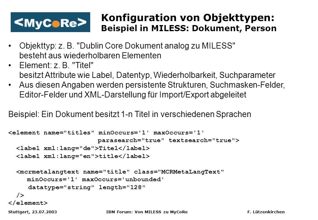 Stuttgart, 23.07.2003 IBM Forum: Von MILESS zu MyCoRe F. Lützenkirchen Konfiguration von Objekttypen: Beispiel in MILESS: Dokument, Person Objekttyp: