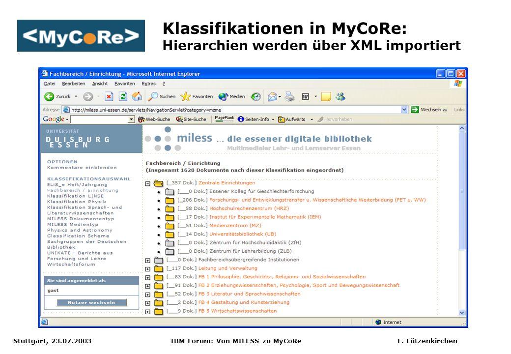 Stuttgart, 23.07.2003 IBM Forum: Von MILESS zu MyCoRe F. Lützenkirchen Klassifikationen in MyCoRe: Hierarchien werden über XML importiert