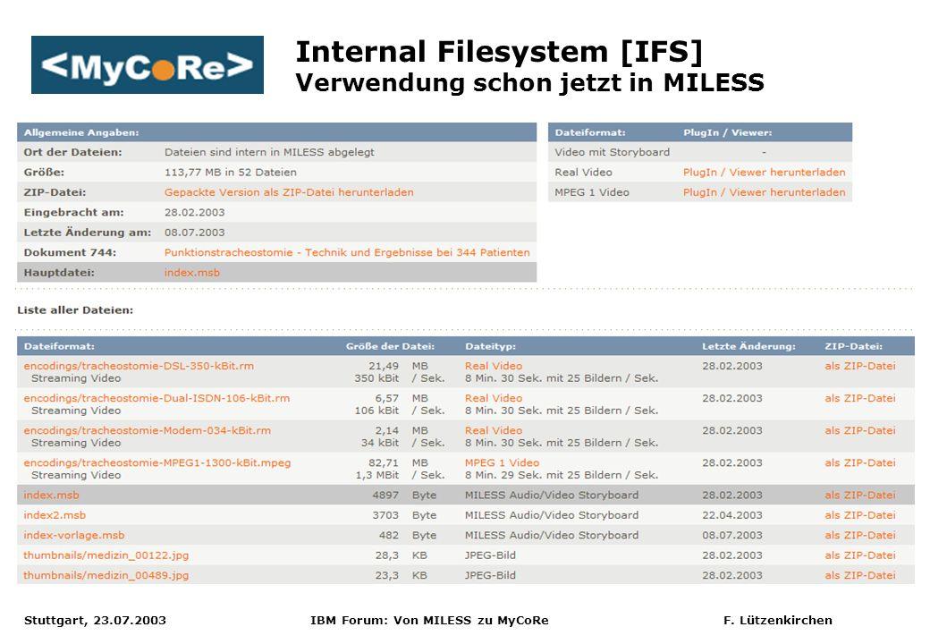 Stuttgart, 23.07.2003 IBM Forum: Von MILESS zu MyCoRe F. Lützenkirchen Internal Filesystem [IFS] Verwendung schon jetzt in MILESS