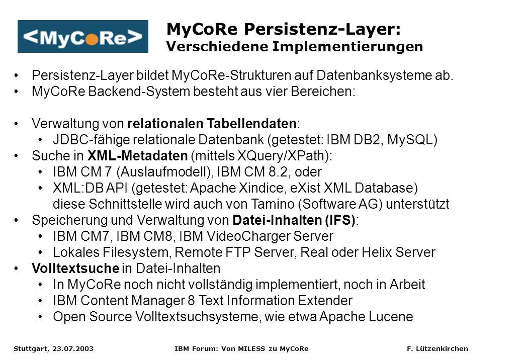 Stuttgart, 23.07.2003 IBM Forum: Von MILESS zu MyCoRe F. Lützenkirchen MyCoRe Persistenz-Layer: Verschiedene Implementierungen Persistenz-Layer bildet