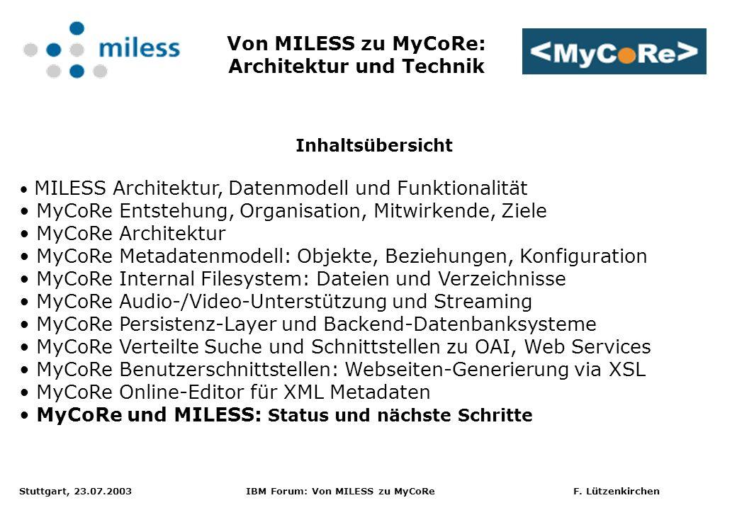 Stuttgart, 23.07.2003 IBM Forum: Von MILESS zu MyCoRe F. Lützenkirchen Inhaltsübersicht MILESS Architektur, Datenmodell und Funktionalität MyCoRe Ents