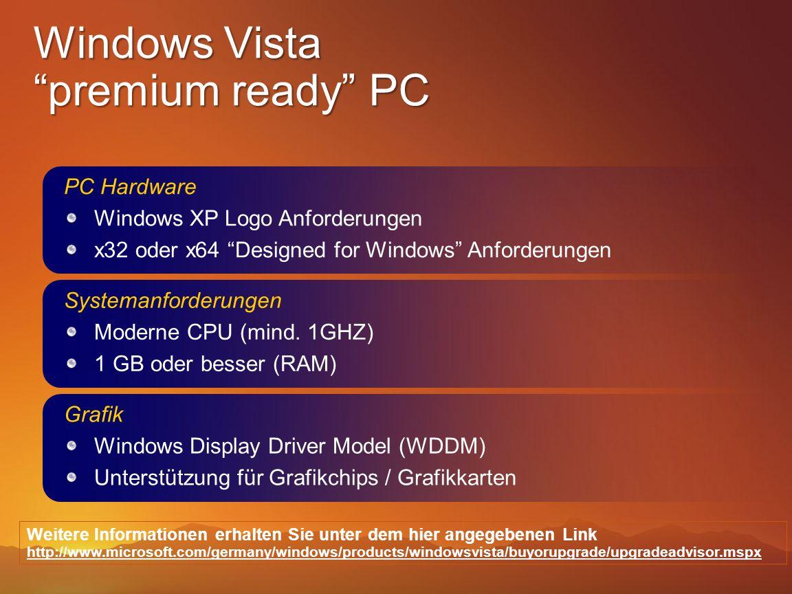 PC Hardware Windows XP Logo Anforderungen x32 oder x64 Designed for Windows Anforderungen Systemanforderungen Moderne CPU (mind. 1GHZ) 1 GB oder besse