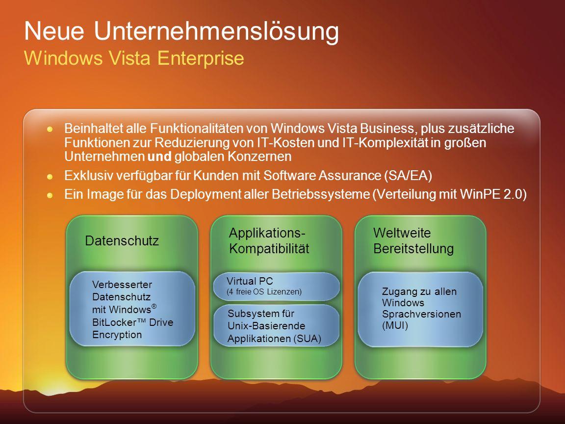 Neue Unternehmenslösung Windows Vista Enterprise Beinhaltet alle Funktionalitäten von Windows Vista Business, plus zusätzliche Funktionen zur Reduzier