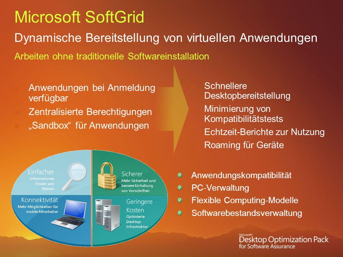 Microsoft SoftGrid Dynamische Bereitstellung von virtuellen Anwendungen Arbeiten ohne traditionelle Softwareinstallation Anwendungen bei Anmeldung ver