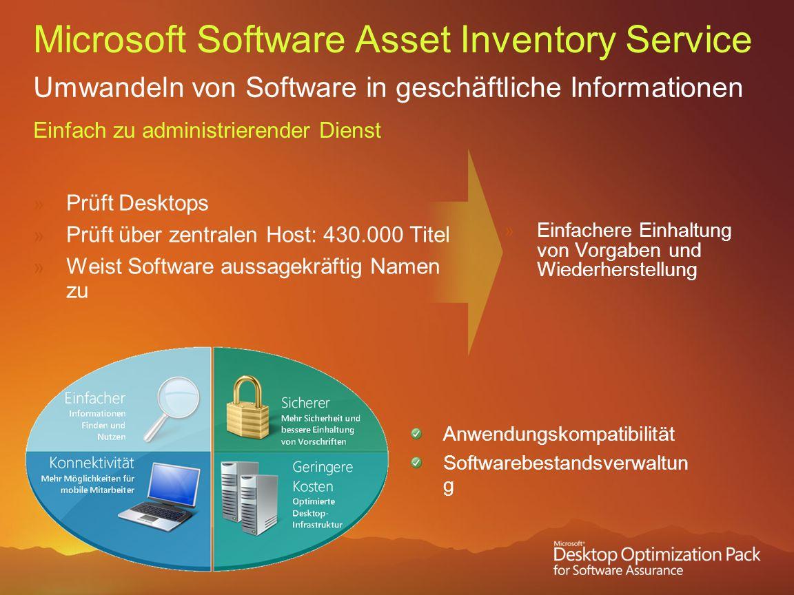 Microsoft Software Asset Inventory Service Umwandeln von Software in geschäftliche Informationen Einfach zu administrierender Dienst Prüft Desktops Pr