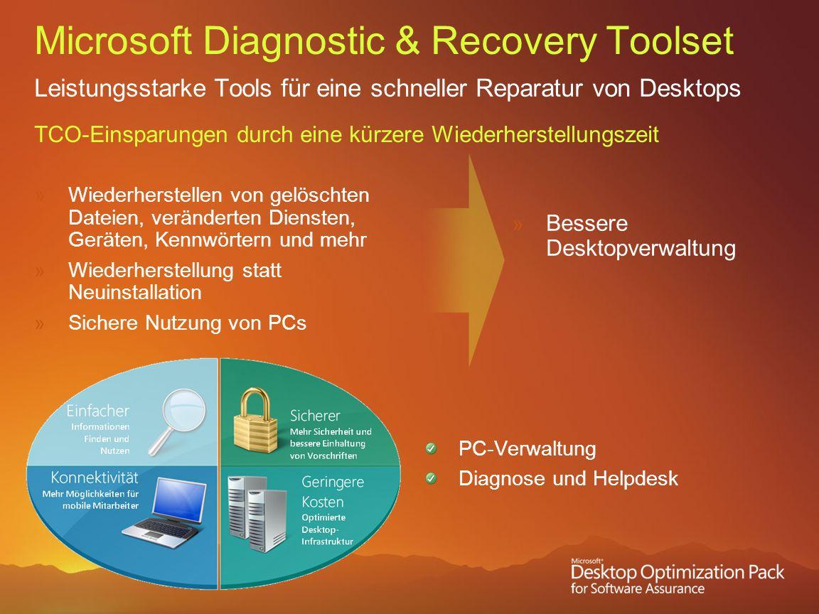 Microsoft Diagnostic & Recovery Toolset Leistungsstarke Tools für eine schneller Reparatur von Desktops TCO-Einsparungen durch eine kürzere Wiederhers
