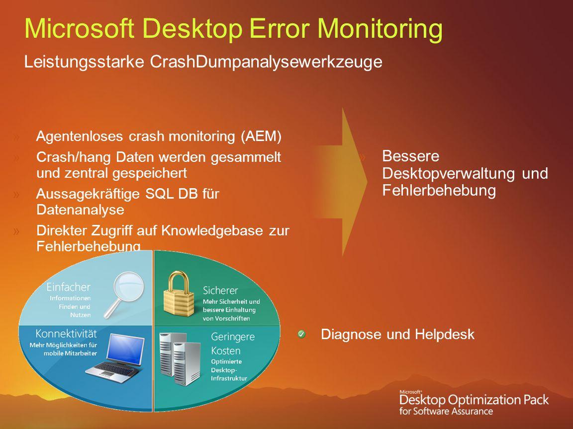 Microsoft Desktop Error Monitoring Leistungsstarke CrashDumpanalysewerkzeuge Agentenloses crash monitoring (AEM) Crash/hang Daten werden gesammelt und