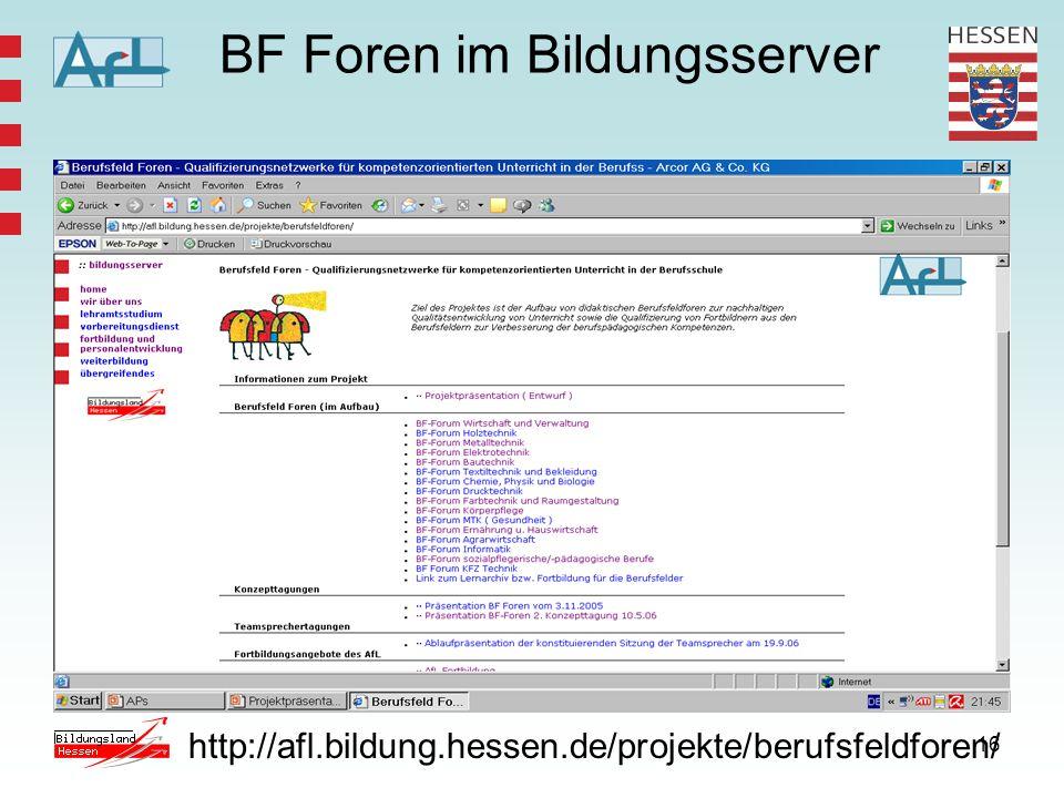 16 BF Foren im Bildungsserver http://afl.bildung.hessen.de/projekte/berufsfeldforen/