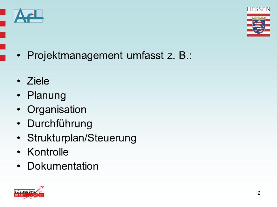 2 Projektmanagement umfasst z. B.: Ziele Planung Organisation Durchführung Strukturplan/Steuerung Kontrolle Dokumentation