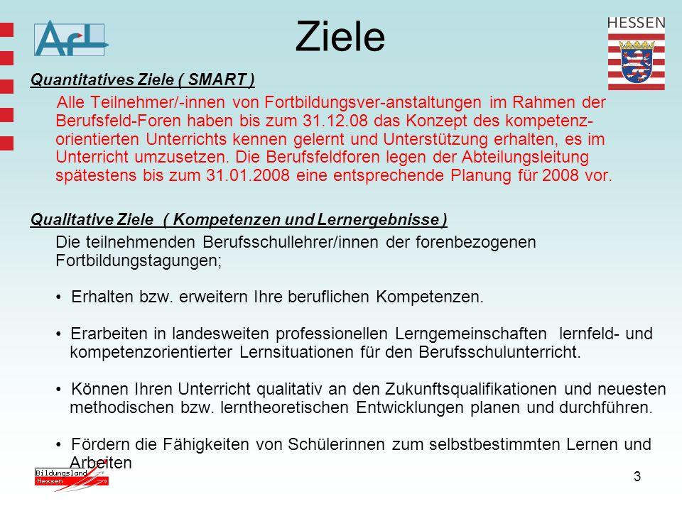 3 Ziele Quantitatives Ziele ( SMART ) Alle Teilnehmer/-innen von Fortbildungsver-anstaltungen im Rahmen der Berufsfeld-Foren haben bis zum 31.12.08 da