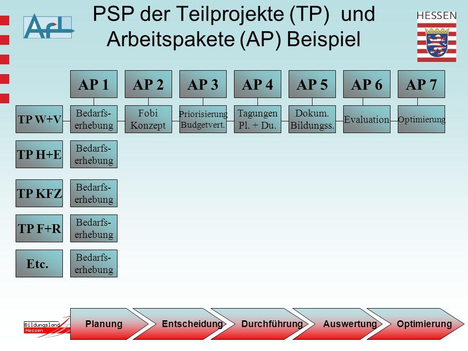 9 AP 1 TP W+V TP H+E TP KFZ TP F+R Etc. Bedarfs- erhebung AP 3AP 4AP 5AP 2 Priorisierung Budgetvert. Evaluation Tagungen Pl. + Du. Fobi Konzept AP 7AP