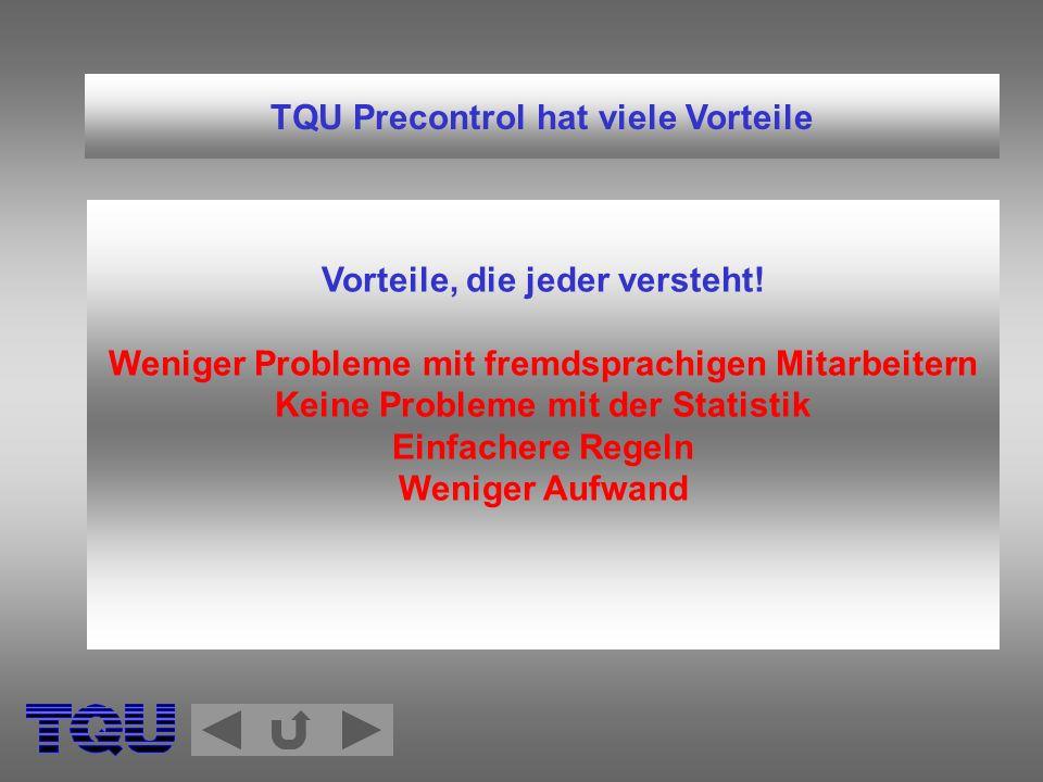 TQU Precontrol hat viele Vorteile Vorteile, die jeder versteht! Weniger Probleme mit fremdsprachigen Mitarbeitern Keine Probleme mit der Statistik Ein