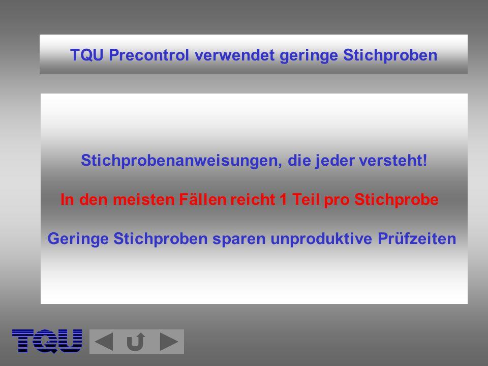 TQU Precontrol verwendet geringe Stichproben Stichprobenanweisungen, die jeder versteht! In den meisten Fällen reicht 1 Teil pro Stichprobe Geringe St