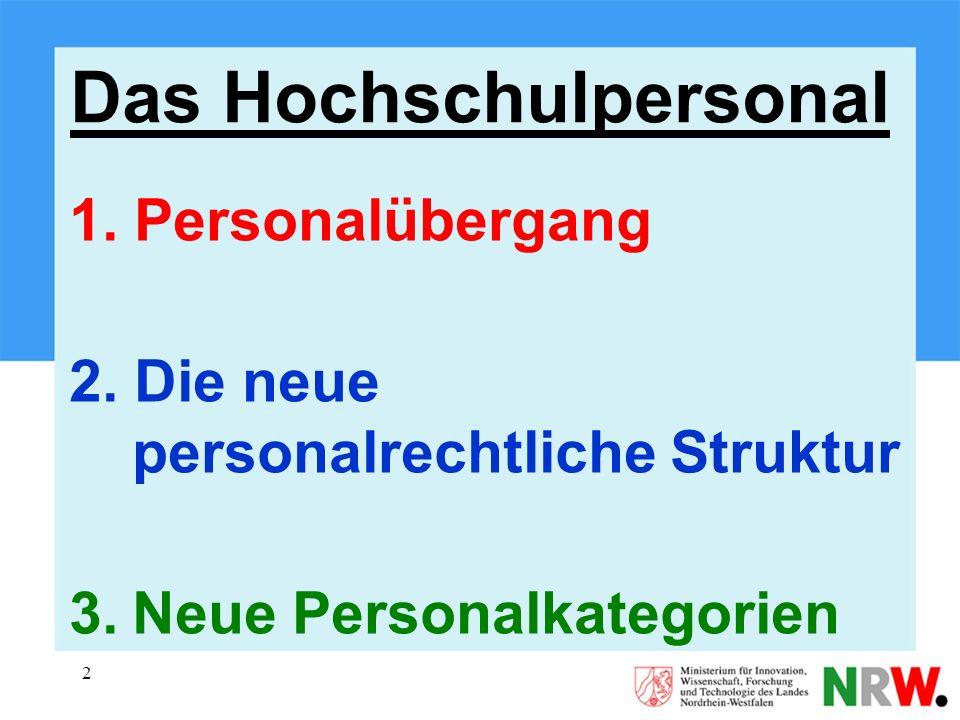 2 1. Personalübergang 2. Die neue personalrechtliche Struktur 3.Neue Personalkategorien