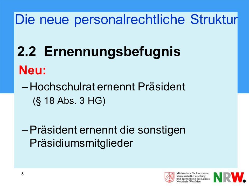 8 Die neue personalrechtliche Struktur 2.2 Ernennungsbefugnis Neu: –Hochschulrat ernennt Präsident (§ 18 Abs. 3 HG) –Präsident ernennt die sonstigen P