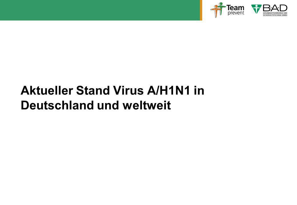 Aktueller Stand Virus A/H1N1 in Deutschland und weltweit