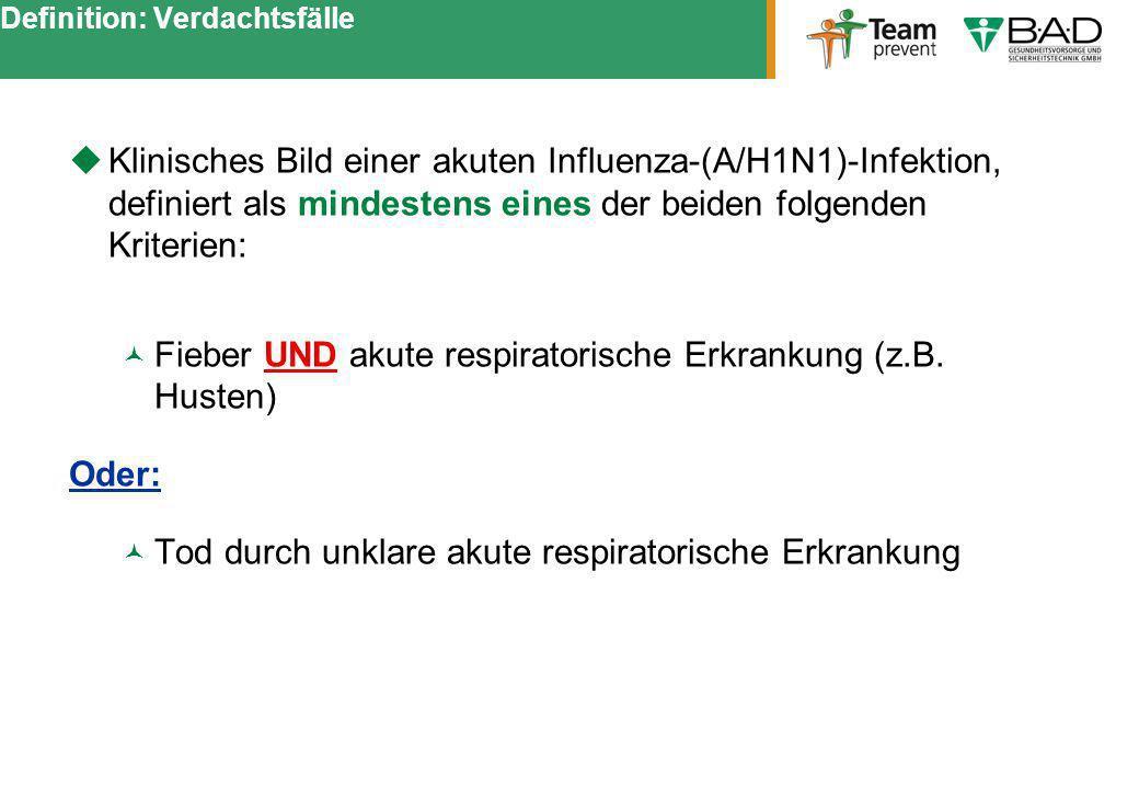 Definition: Verdachtsfälle Klinisches Bild einer akuten Influenza-(A/H1N1)-Infektion, definiert als mindestens eines der beiden folgenden Kriterien: F