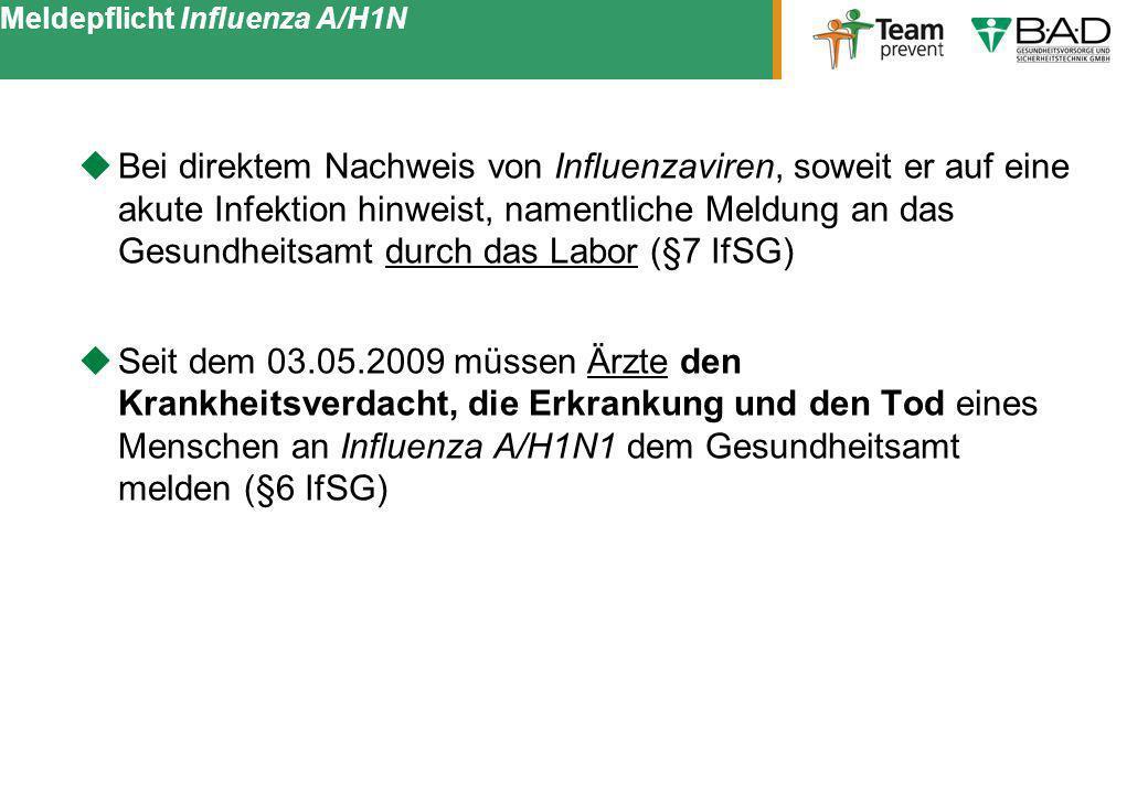 Meldepflicht Influenza A/H1N Bei direktem Nachweis von Influenzaviren, soweit er auf eine akute Infektion hinweist, namentliche Meldung an das Gesundh