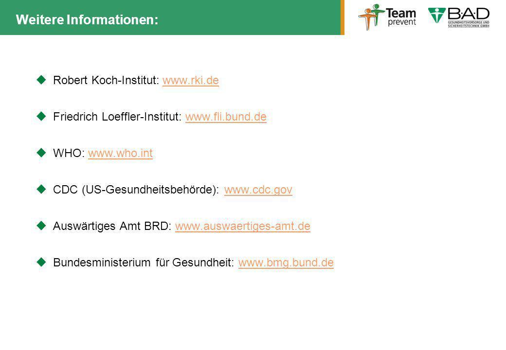 Robert Koch-Institut: www.rki.dewww.rki.de Friedrich Loeffler-Institut: www.fli.bund.dewww.fli.bund.de WHO: www.who.intwww.who.int CDC (US-Gesundheits